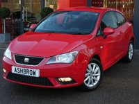 USED 2013 62 SEAT IBIZA 1.4 SE 3d 85 BHP RECENT CAMBELT WATER PUMP CHANGE, MANUAL GEARBOX, FRONT FOG LIGHTS, 15 INCH 10 SPOKE ALLOY WHEELS, GREY CLOTH INTERIOR, LEATHER STEERING WHEEL, STEERING COLUMN REMOTE CONTROLS, DIS TRIP COMPUTER, AIR CONDITIONING, CD RADIO, AUX INPUT, NON SMOKING PACK, ISO FIX, FOLDING REAR SEATS, 3x 3 POINT REAR SEAT BELTS, ELECTRIC WINDOWS, ELECTRIC DOOR MIRRORS, REMOTE CENTRAL LOCKING, SERVICE HISTORY, HPI CLEAR