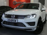 USED 2017 17 VOLKSWAGEN TOUAREG 3.0 TDI V6 R-LINE PLUS BLUEMOTION TECH 5d 265 S/S UPGRADE 20 INCH MALLORY BLACK ALLOY WHEELS, UPGRADE DYNAMIC LIGHT ASSIST, HDD SAT NAV, PANORAMIC SUN ROOF (PAN ROOF), 360 AREA VIEW CAMERAS, PIANO BLACK INLAYS, BLACK LEATHER, HEATED FRONT SEATS, DAB RADIO, BLUETOOTH PHONE & MUSIC STREAMING, MDI INPUT, LED XENON LIGHTS,  FRONT & REAR PARKING SENSORS WITH DISPLAY, ELECTRIC TAILGATE, KEYLESS ENTRY & START, PRIVACY GLASS, LEATHER MULTIFUNCTION TIPTRONIC STEERING WHEEL, HEATED STEERING WHEEL, CRUISE CONTROL, LIGHT & RAIN SENSORS, POWER FOLD MIRRORS