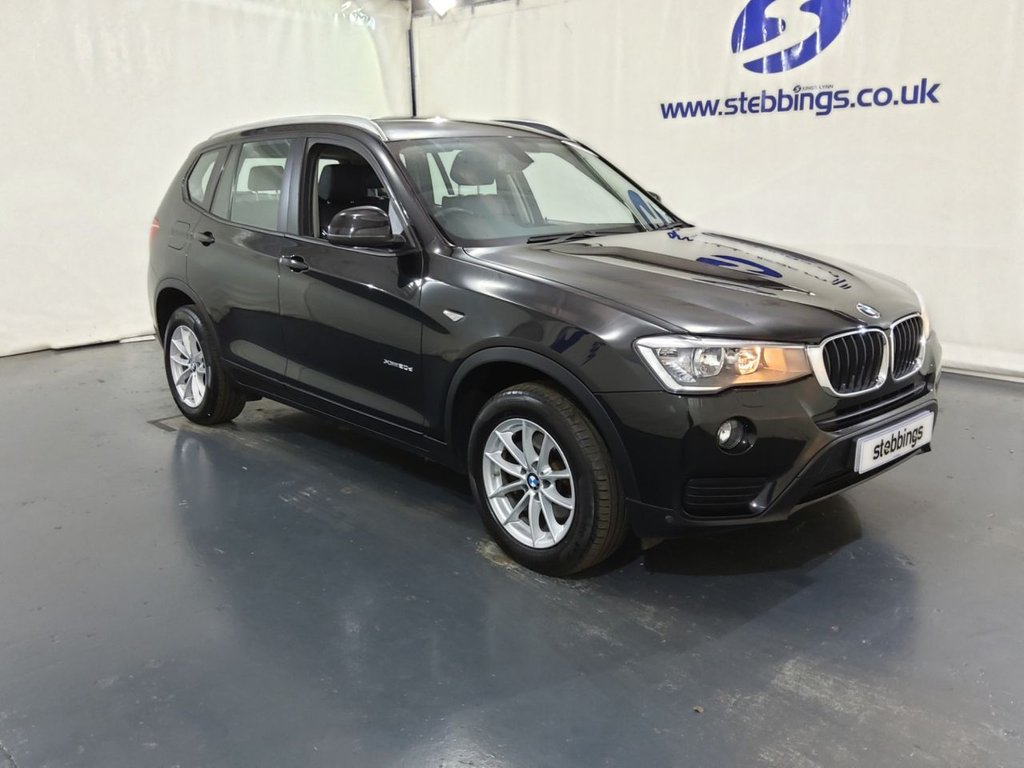 "USED 2016 16 BMW X3 2.0 XDRIVE20D SE 5d 188 BHP SAT NAV, BLACK NEVADA LEATHER, HEATED FRONT SEATS, MULTIMEDIA INTERFACE, DAB RADIO, DUAL ZONE CLIMATE CONTROL, PARK DISTANCE CONTROL WITH SENSORS, AUTO LIGHTS AND WIPERS, KEYLESS START, 17"" ALLOYS"