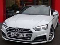 USED 2017 67 AUDI A5 CABRIOLET 2.0 TFSI S LINE 2d AUTO 190 S/S NEW SHAPE, 1 OWNER FROM NEW, FULL SERVICE HISTORY, BALANCE OF AUDI WARRANTY, UPGRADE 19 INCH 5 PARALLEL SPOKE ALLOYS, UPGRADE ADVANCED KEY, UPGRADE BANG & OLUFSEN SOUND SYSTEM, UPGRADE REAR VIEW CAMERA, UPGRADE HILL HOLD ASSIST, SAT NAV, BLUETOOTH PHONE & MUSIC STREAMING, DAB RADIO, AUDI SMART PHONE FOR APPLE CAR PLAY / ANDROID AUTO, AUDI CONNECT, FRONT & REAR PARKING SENSORS, LIGHT & RAIN SENSORS, CRUISE CONTROL WITH SPEED LIMITER, HEATED FRONT SEATS, ELECTRIC FRONT SEATS, AUX & 2X USB, CLIMATE
