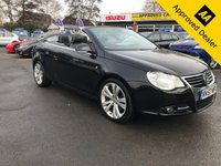 USED 2007 57 VOLKSWAGEN EOS 2.0 INDIVIDUAL FSI DSG 2d 198 BHP IN METALLIC BLACK WITH A 71,000 MILES AND A FULL SERVICE HISTORY! FULL LEATHER ELECTRIC ROOF! APPROVED CARS AND FINANCE ARE PLEASED TO OFFER THIS VOLKSWAGEN EOS 2.0 INDIVIDUAL FSI DSG 2D 198 BHP IN METALLIC BLACK WITH 71,000 MILES AND A FULL SERVICE HISTORY AT 7K, 12K, 17K, 23K, 29K, 34K, 40K, 45K, 51K, 67K, AND 70K. THIS VEHICLE HAS GOT A GREAT SPEC SUCH AS A FULL ELECTRIC CONVERTIBLE ROOF, FULL LEATHER INTERIOR WITH HEATED SEATS, ALLOY WHEELS, ELECTRIC WINDOWS, FULLY AUTOMATIC GEARBOX AND MUCH MORE. THIS IS A STUNNING VEHICLE WITH A GREAT HISTORY AND HAS GREAT MILEAGE FOR ITS AGE