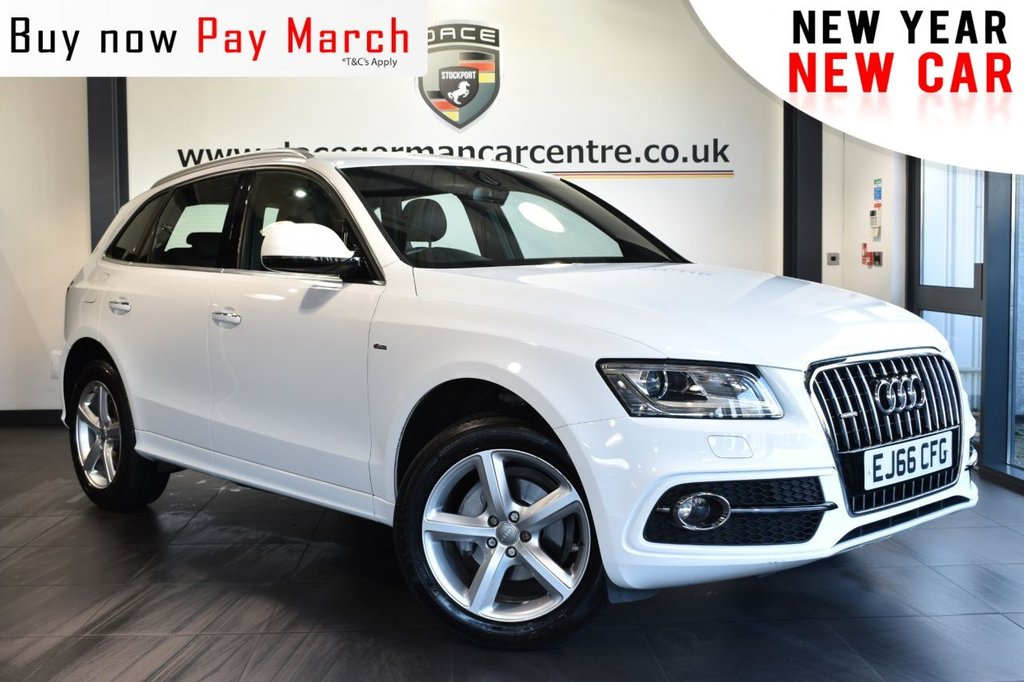 "USED 2017 66 AUDI Q5 2.0 TDI QUATTRO S LINE 5DR 187 BHP full service history Finished in a stunning ibis white styled with 19"" alloys. Upon opening the drivers door you are presented with full leather interior, full service history, bluetooth, heated seats, cruise control, DAB radio, daytime running lights, multi functional steering wheels, climate control, heated mirrors, parking sensors"