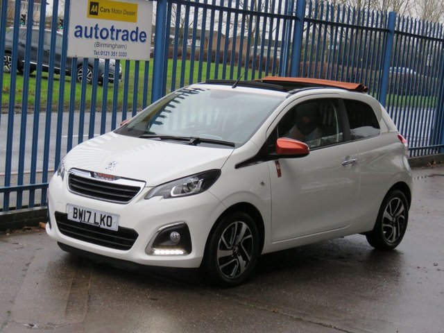 USED 2017 17 PEUGEOT 108 1.2 PURETECH ROLAND GARROS TOP 3dr Sat nav Rear camera Cruise DAB Zero Tax & Electric Convertible Roof