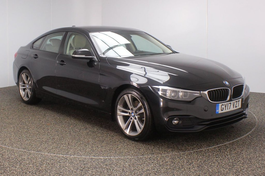 USED 2017 17 BMW 4 SERIES GRAN COUPE 2.0 420D SPORT GRAN COUPE 4DR 188 BHP SAT NAV LEATHER  FULL BMW SERVICE HISTORY + HEATED LEATHER SEATS + SATELLITE NAVIGATION + REVERSE CAMERA + PARKING SENSOR + BLUETOOTH + CRUISE CONTROL + CLIMATE CONTROL + MULTI FUNCTION WHEEL + DAB RADIO + XENON HEADLIGHTS + RADIO/CD/USB + ELECTRIC WINDOWS + ELECTRIC MIRRORS + 18 INCH ALLOY WHEELS