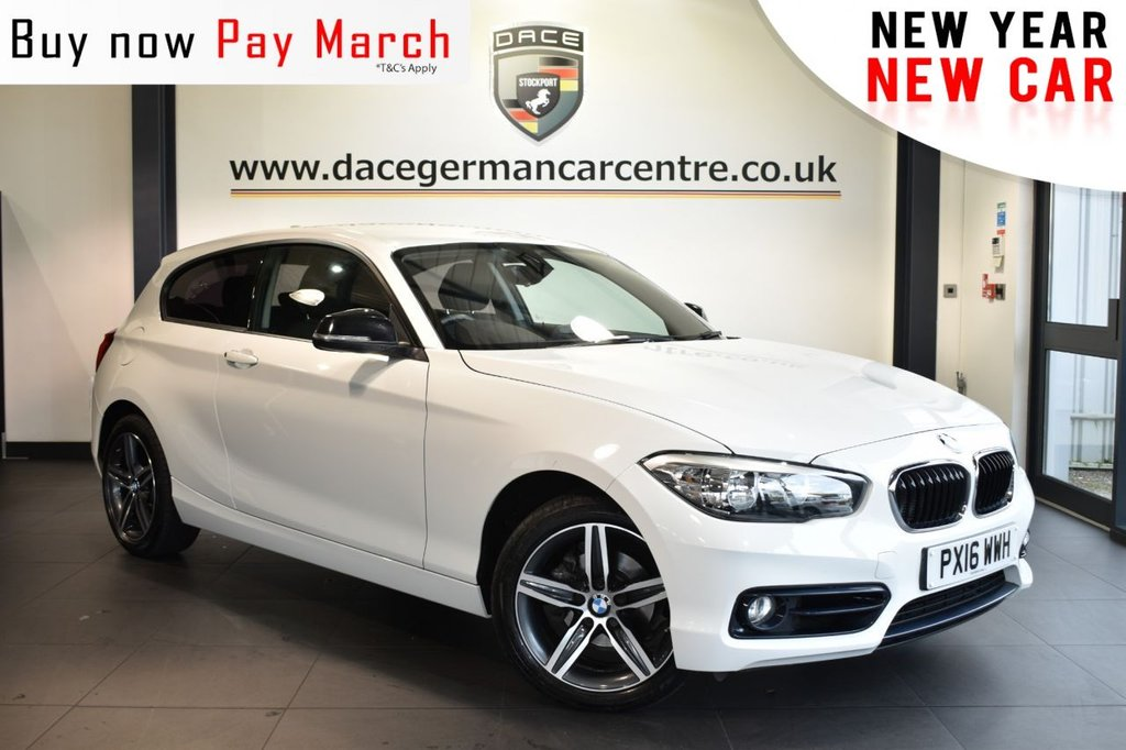 """USED 2016 16 BMW 1 SERIES 2.0 118D SPORT 3DR 147 BHP ull bmw service history  Finished in a stunning alpine white styled with 17"""" alloys. Upon opening the drivers door you are presented with anthracite upholstery, full bmw service history, satelite navigation, bluetooth, cruise control, DAB radio, Multifunction steering wheel, sport seats, rain sensors, fog lights, Connected Drive Services, parking sensors"""