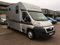 USED 2012 12 PEUGEOT BOXER 2.2 HDI 335 ZUCKOFF 130 BHP 2 STALL MANELINE RS2 HORSEBOX, FINANCE ARRANGED & 1 TONNE PAYLOAD. Only 97,000 miles from new, 2012 Peugeot Boxer cab in metallic silver built on our own type approved chassis fitted with a Maneline RS2 stall forward facing body with rear walk in tack area, CCTV, heavy duty suspension, anti roll bars & ABS brakes, Defra approved Certificate, Horsebox from new, One owner, well maintained, aluminium floor, reversing beepers, I TONNE PAYLOAD, E/W, parking sensors, Ideal Racing/Dressage or Stud box