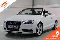USED 2014 14 AUDI A3 1.4 TFSI SPORT CONVERTIBLE 2d 139 BHP  FULL AUDI HISTORY, HEATED SEATS, SATELLITE NAVIGATION