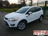 USED 2012 62 FORD KUGA 2.0 TITANIUM TDCI 2WD 5d 138 BHP PRIVACY CRUISE A/C STUNNING WHITE MET WITH BLACK PART LEATHER TRIM. CRUISE CONTROL. 17 INCH ALLOYS. COLOUR CODED TRIMS. BLUETOOTH PREP. CLIMATE CONTROL WITH AIR CON. TRIP COMPUTER. R/CD PLAYER. 6 SPEED MANUAL. MFSW. MOT 08/20. SERVICE HISTORY. PRESTIGE SUV CENTRE LS23 7FR. TEL 01937 849492 OPTION 1