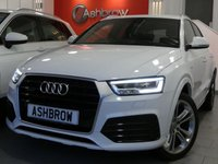 USED 2016 65 AUDI Q3 2.0 TDI QUATTRO S LINE PLUS 5d AUTO 185 S/S UPGRADE HEATED FRONT SEATS, UPGRADE 19 INCH 5 DOUBLE SPOKE ALLOYS, SAT NAV, PARKING SYSTEM FRONT & REAR WITH DISPLAY, CRUISE CONTROL, ELECTRIC HEATED POWER FOLDING DOOR MIRRORS, DAB RADIO, BLUETOOTH PHONE & MUSIC STREAMING, ELECTRIC TAILGATE, AUDI DRIVE SELECT, QUATTRO 4 WHEEL DRIVE, LED XENON LIGHTS, PRIVACY GLASS, SPORT SEATS WITH ELECTRIC LUMBAR SUPPORT, LEATHER MULTIFUNCTION TIPTRONIC STEERING WHEEL (PADDLE SHIFT), AUTO LIGHTS & WIPERS, AUTO DIMMING REAR VIEW MIRROR, AMI, SERVICE HISTORY