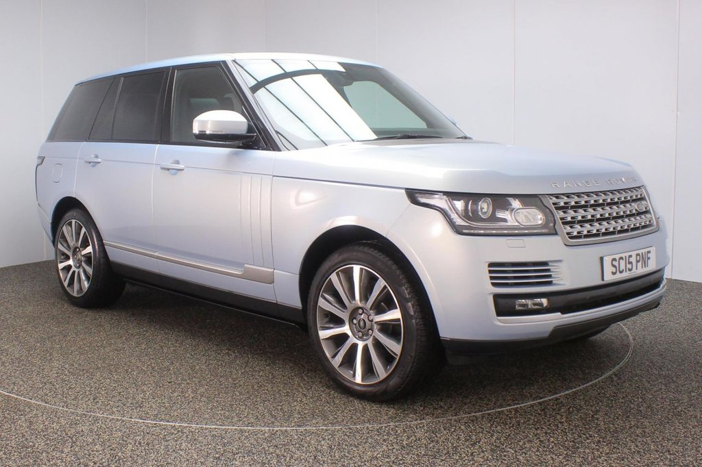 USED 2015 15 LAND ROVER RANGE ROVER 3.0 TDV6 VOGUE 5DR AUTO 255 BHP LAND ROVER SERVICE HISTORY + FRONT/REAR HEATED LEATHER SEATS + SATELLITE NAVIGATION + PANORAMIC ROOF + REAR SEAT ENTERTAINMENT + REVERSE CAMERA + PARKING SENSOR + HEATED STEERING WHEEL + BLUETOOTH + CRUISE CONTROL + CLIMATE CONTROL + DVB-T TV TUNER + MULTI FUNCTION WHEEL + ELECTRIC/MEMORY FRONT SEATS + XENON HEADLIGHTS + PRIVACY GLASS + DEPLOYABLE SIDE STEPS + ELECTRIC WINDOWS + DAB RADIO + ELECTRIC/HEATED MIRRORS + 21 INCH ALLOY WHEELS