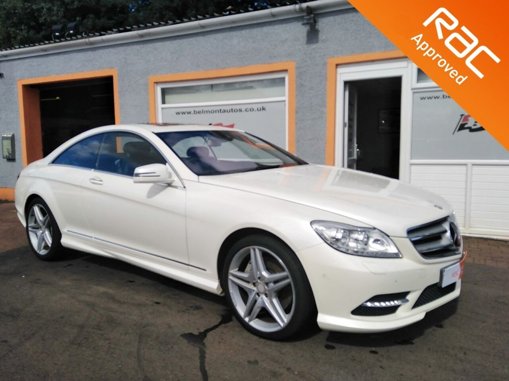 """USED 2013 13 MERCEDES-BENZ CL 4.7 CL500 BLUEEFFICIENCY 2d 435 BHP 20"""" Alloys, AMG Sports package, Pearlescent Diamond White Metallic, Glass Sunroof, TV tuner, Bluetooth, Parktronic, Rear View Camera"""