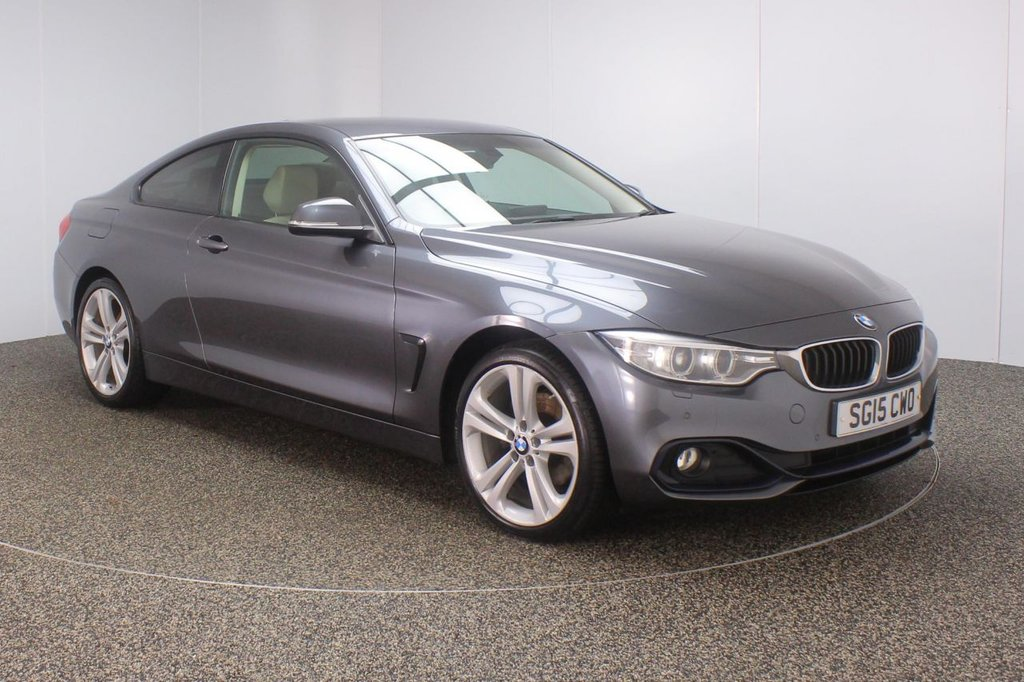 USED 2015 15 BMW 4 SERIES 2.0 420D XDRIVE SPORT 2DR 181 BHP PRO NAV SILVER FULL HEATED LEATHER UPGRADED 19