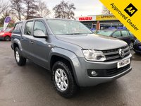 USED 2011 61 VOLKSWAGEN AMAROK 2.0 DC TDI TRENDLINE 4MOTION 4d 161 BHP IN METALLIC GREY WITH A GREY CLOTH INTERIOR WITH A TRUCK-MAN REAR COVER IN IMMACULATE CONDITION WITH (NO VAT NO VAT.) APPROVED CARS ARE PLEASED TO OFFER THIS VOLKSWAGEN AMAROK 2.0 DC TDI TRENDLINE 4MOTION 4 DOOR PICK UP TRUCK 161 BHP IN METALLIC GREY WITH A GREY CLOTH INTERIOR IN IMMACULATE CONDITION ,THE TRUCK IS A 1 OWNER FROM NEW WITH A FULL DEALERSHIP SERVICE HISTORY SERVICED AT 12K,26K,49K AND 73K A LOVELY EXAMPLE WITH A REAR TRUCK MAN STYLE CABIN WITH WINDOWS,TOW BAR,WINTER TYRES WITH LOTS OF TREAD AND LOTS MORE AND THERE IS NO VAT(NO VAT ON THIS TRUCK)THIS TRUCK IS ONE NOT TO BE MISSED AS IT REALLY HAS B