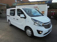 USED 2015 15 VAUXHALL VIVARO FACTORY SIX SEATER CREW VAN 1.6 CDTI 2900 L1H1 SPORTIVE 120 BHP AIR CONDITIONING / CRUISE CONTROL / ELECTRIC PACK / DAY TIME RUNNING LIGHTS / FULL SERVICE HISTORY  Vauxhall Vivaro Bi Turbo Sportive 6 Seat Double Cab