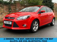 USED 2012 12 FORD FOCUS 1.6 ZETEC TDCI 5d 113 BHP 2 OWNERS, EXCELLENT SERVICE HISTORY, £20 TAX, 1YR MOT, EXCELLENT CONDITION,  ALLOYS, AIR CON, BLUETOOTH, RADIO CD, E/WINDOWS, R/LOCKING, FREE WARRANTY, FINANCE AVAILABLE, HPI CLEAR, PART EXCHANGE WELCOME,