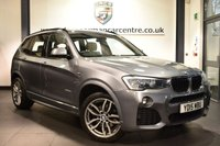 "USED 2015 15 BMW X3 2.0 XDRIVE20D M SPORT 5DR AUTO 188 BHP full bmw service history Finished in a stunning space metallic grey styled with 19"" alloys. Upon opening the drivers door you are presented with full cream leather interior, full bmw service history, satellite navigation, bluetooth, heated seats, cruise control, DAB radio, Auto start/stop function, Multifunction steering wheel, Automatic transmission with shift paddles, Performance Control, automatic boot lid, Driving experience switch incl. ECO PRO, Rain sensors, fog lights, Automatic air conditioning, Light package, p"