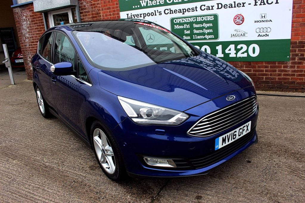 USED 2016 16 FORD C-MAX 1.5 TITANIUM X TDCI 5d 118 BHP +ONE OWNER +LEATHER +PAN ROOF.