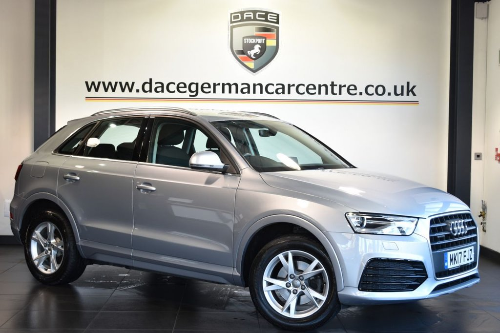 USED 2017 17 AUDI Q3 2.0 TDI QUATTRO SPORT 5DR 148 BHP full service history  Finished in a stunning metallic silver styled with 17 inch alloys. Upon entry you are presented with spotless cloth upholstery, full service history, satellite navigation, bluetooth, parking sensors, dual climate control, air conditioning, lumbar support, dab radio, rain sensors, audi multimedia, heated door mirrors, multi function steering wheel