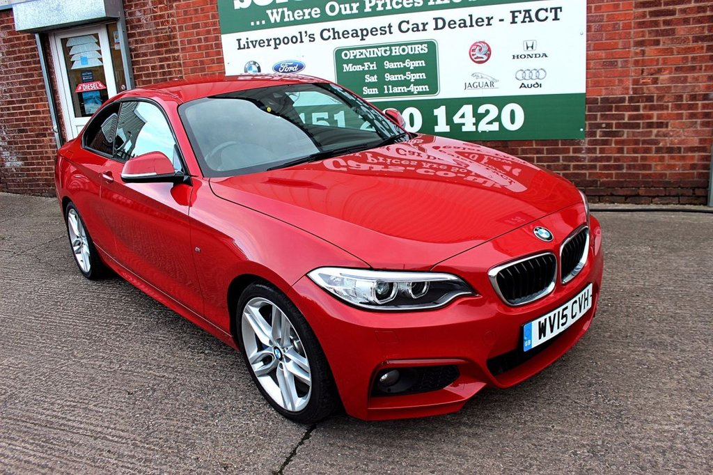 USED 2015 15 BMW 2 SERIES 2.0 220D M SPORT 2d 188 BHP +ONE OWNER +SAT NAV +LEATHER.