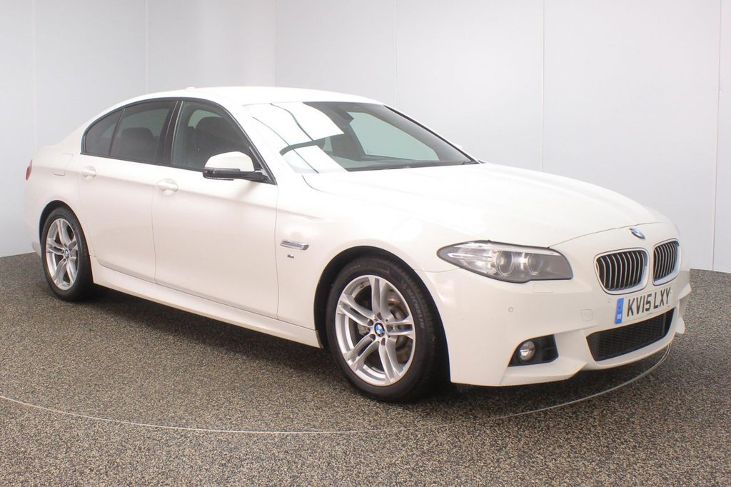 USED 2015 15 BMW 5 SERIES 2.0 518D M SPORT 4DR 148 BHP 1 OWNER FSH LEATHER BMW SERVICE HISTORY + HEATED LEATHER SEATS + SATELLITE NAVIGATION + PARKING SENSOR + BLUETOOTH + CRUISE CONTROL + CLIMATE CONTROL + MULTI FUNCTION WHEEL + DAB RADIO + XENON HEADLIGHTS + PRIVACY GLASS + ELECTRIC WINDOWS + ELECTRIC MIRRORS + 18 INCH ALLOY WHEELS
