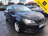 USED 2013 63 SEAT IBIZA 1.4 TOCA 5d 85 BHP IN BLACK WITH ONLY 31300 MILES, FULL SERVICE HISTORY AND WILL MAKE AN IDEAL FIRST CAR (ULEZ COMPLIANT) Approved Cars are pleased to offer this immaculate 2013 Seat Ibiza Toka 1.4in black with only 31300 mileas. This ideal hatchback has been extremely well looked after and comes with a full service history. As an idral first car it comes with everything you need including Alloy wheels, CD player, FM/AM radio, isofix and much much more. For more information or to book a test drive please call our sales team on 01622 871555.