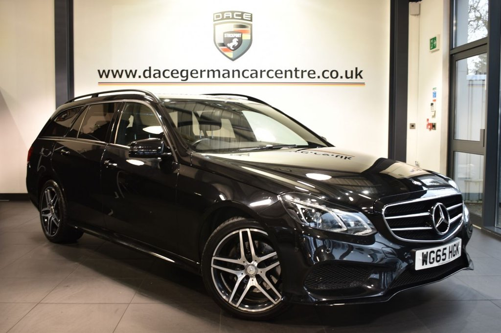 """USED 2015 65 MERCEDES-BENZ E CLASS 2.1 E220 BLUETEC AMG NIGHT EDITION 5DR AUTO 174 BHP full service history  Finished in a stunning obsidian black styled with 18"""" alloys. Upon entry you are presented with full black leather interior, full service history, bluetooth, DAB radio, heated sport seats, LED headlights, AMG styling package, interior/exterior auto dimming mirrors, electric folding mirrors, night package, mirror package, active park assist"""