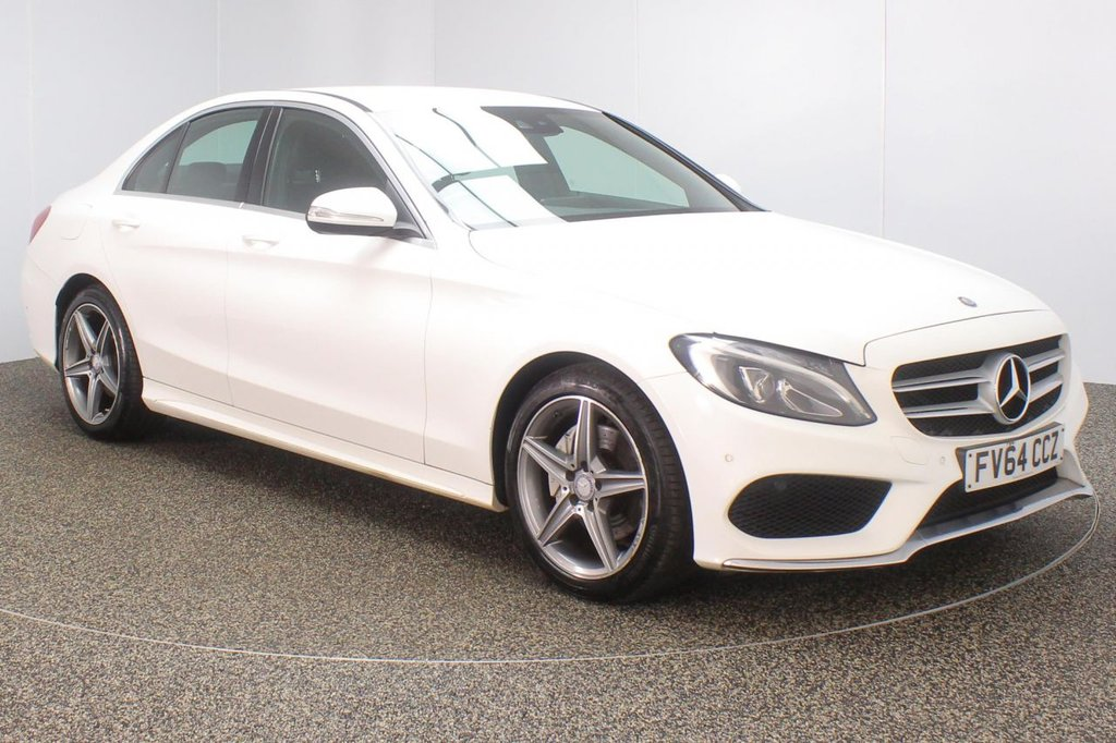 USED 2014 64 MERCEDES-BENZ C CLASS 2.1 C220 BLUETEC AMG LINE 4DR 170 BHP + SAT NAV + LEATHER + SERVICE HISTORY  FULL SERVICE HISTORY + £20 12 MONTHS ROAD TAX + HEATED LEATHER SEATS + SATELLITE NAVIGATION + REVERSE CAMERA + ACTIVE PARK ASSIST + PARKING SENSOR + BLUETOOTH + CRUISE CONTROL + CLIMATE CONTROL + MULTI FUNCTION WHEEL + ELECTRIC SEATS + DAB RADIO + ELECTRIC WINDOWS + ELECTRIC/HEATED DOOR MIRRORS + 18 INCH ALLOY WHEELS