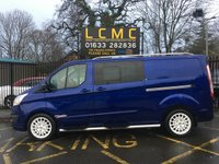 USED 2016 16 FORD TRANSIT CUSTOM 2.2 290 LIMITED LR DCB 153 BHP STUNNING PERFORMANCE METALLIC BLUE, GREY CLOTH, SIX SEATS, AIRCON, CRUISE CONTROL, WHITE ALLOYS, HEATED SEATS, PARKING AIDS, ROOF RAILS, SIDE STEPS, REAR SPOILER, BIG SPEC STYLE PACK, SERV HISTORY NO VAT