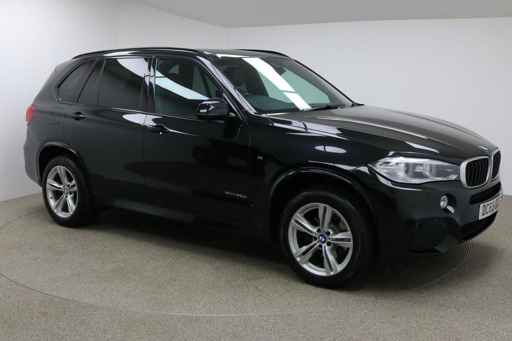 USED 2015 65 BMW X5 2.0 SDRIVE25D M SPORT 5d AUTO 231 BHP FInished in stunning metallic Black Sapphire + 19 inch alloys + Black full leather interior + Pro Sat Nav + Bluetooth + DAB Radio + In Car entertainment - CD / AUX / USB / DVD + Start / stop + Air Con + Dual Climate control + Multi Function steering wheel + Cruise Control + Electric Folding mirrors + Electric Windows + 7 Seats + Auto Lights / Wipers + Heated Electric Memory Front Seats + Electric Adjustable Steering Wheel + Voice Control + 1 owner new + ULEZ EXEMPT