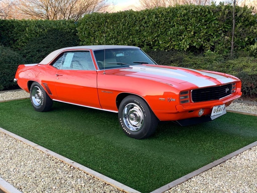 "USED 1969 CHEVROLET CAMARO Camaro Spt Coupe Z28 A Rare Investment Opportunity to Own a World Class, Multi Award Winning Example and A True Collectors Icon. This Exceptional Classic Camaro Z28 is Factory OE Correct with Almost Zero Miles and Comes with The Provenance and the Supporting Documents you would Expect from a Vehicle of this Calibre. Even the Original 1969 ""plate tags"" Booklet as Supplied New in 1969 & Perhaps Even Rarer is the Main Dealer Exclusive Trim and Body Catalogue, with all the Trim and Colour Combination Options Available.."