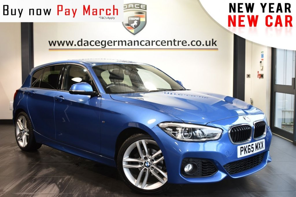 """USED 2015 65 BMW 1 SERIES 1.5 118I M SPORT 5DR AUTO 134 BHP Finished in a stunning estoril metallic blue styled with 18"""" alloys. Upon opening the drivers door you are presented with anthracite upholstery, full service history, satellite navigation, bluetooth, DAB radio, cruise control, Multifunction steering wheel, Interior/outside mirror with auto dip, sport seats, rain sensors, fog lights, LED headlights, privacy glass, parking sensors"""