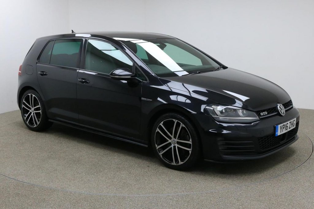 USED 2016 16 VOLKSWAGEN GOLF 2.0 GTD 5d 181 BHP Finished in stunning Deep Black pearl + 18 inch diamond cut alloys + black cloth interior + Sat nav, Bluetooth, Full service history, Bluetooth, DAB Radio  In car entertainment - CD / AUX / USB / SD  Start / stop  Air con  Dual climate control + £30 road tax + Multi function steering wheel + Adaptive Cruise Control + Electric heated / folding mirrors + Front / Rear parking sensors + Auto lights + Heated Front seats + ULEZ EXEMPT