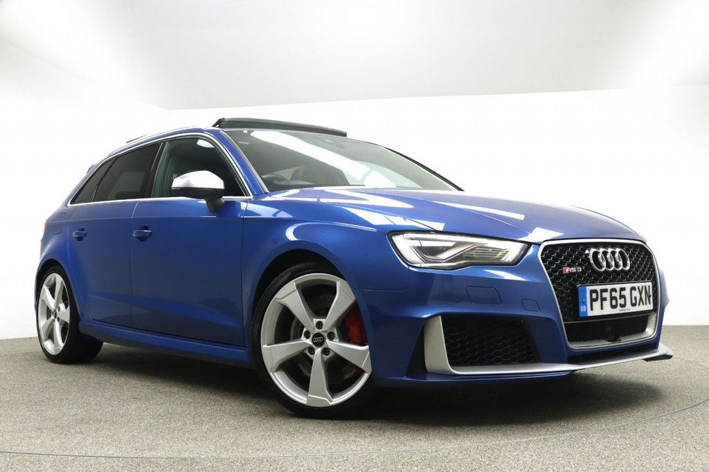 USED 2015 65 AUDI RS3 2.5 RS3 SPORTBACK QUATTRO NAV 5d AUTO 362 BHP Finished in stunning pearl Sepang Blue + 19 inch alloys + Full black leather interior + Sat nav + Bluetooth + DAB Radio + In car entertainment - CD / SD / AMI / DVD + Reverse Camera + Start / stop + Air con + Dual climate control + Multi function steering wheel + Cruise control + Electric folding / heated mirrors + Electric sunroof + Bang & Olufsen sound system + Front / Rear parking sensors + Auto lights + Electric heated memory seats + Full service history + 1 owner from new + ULEZ EXEMPT