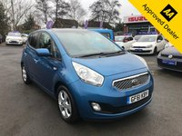 USED 2011 61 KIA VENGA 1.4 CRDI 3 ECODYNAMICS 5d 89 BHP IN METALLIC BLUE WITH ONLY 55800 MILES, FULL SERVICE HISTORY, 2 OWNERS AND A GREAT SPEC INCLUDING PANORAMIC ROOF.  Approved Cars are pleased to offer this immaculate 2011 Kia Venga 1.4 CRDI 3 Ecodynamics in metallic blue with only 55800 miles. This ideal city car has been extremely well looked after and maintained and comes with a full service history. The 1.4L diesel engine is very economical and the rest of the car comes well equipped with DAB radio, aircon, Isofix, FM/AM radio, black glass panoramic glass roof, bluetooth and much much more. For more information or to book a test drive please call