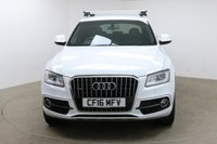 USED 2016 16 AUDI Q5 2.0 TFSI QUATTRO S LINE PLUS 5d AUTO 227 BHP Finished in stunning metallic White + 20 Inch alloys + Full black leather interior + Sat nav + Bluetooth + DAB Radio + In Car entertainment - CD / SD / AMI / DVD + Start / Stop + Air con + Dual climate control + Multi function steering wheel + Cruise control + Electric heated mirrors + Electric windows +, Front / Rear parking sensors + Auto lights / wipers + Genuine Audi roof rails + Rain sensor + Electric heated seats + Full service history + 1 owner from newULEZ EXEMPT