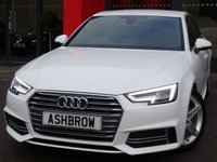 USED 2017 67 AUDI A4 1.4 TFSI S LINE 4d 150 S/S 1 OWNER, FULL AUDI HISTORY, BALANCE OF AUDI WARRANTY, SAT NAV, AUDI SMART PHONE WITH APPLE CAR PLAY & ANDROID AUTO, HEATED FRONT SEATS, AUDI CONNECT, DAB RADIO, CRUISE CONTROL WITH SPEED LIMITER, LED DAYTIME RUNNING LIGHTS, BLUETOOTH PHONE & MUSIC STREAMING, FRONT & REAR PARKING SENSORS WITH DISPLAY, DIRECTIONAL SWEEPING INDICATORS, 18 INCH ALLOYS, BLACK PART LEATHER INTERIOR, SPORT SEATS, LEATHER MULTIFUNCTION STEERING WHEEL, LIGHT & RAIN SENSORS, AUDI DRIVE SELECT,  KEYLESS START, AUX & USB