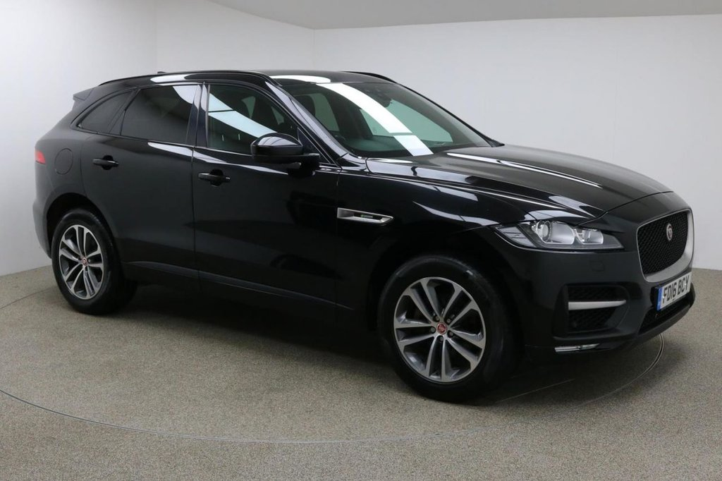 USED 2016 16 JAGUAR F-PACE 2.0 R-SPORT AWD 5d AUTO 178 BHP Finished in stunning metallic Santorini Black + 19 inch diamond cut alloys + Black / cream leather interior + Sat nav + Bluetooth + DAB radio + Full JAGUAR service history + In car entertainment - CD / USB / HDMI + Start / stop + Air con + Dual climate control + Multi Function steering wheel + Cruise control + Electric mirrors + Electric windows + Meridian Surround Audio System  + Auto lights / wipers + Front / rear parking sensors + Heated front seats + 1 owner from new + ULEZ EXEMPT