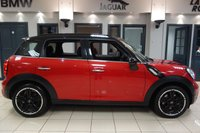 USED 2014 64 MINI COUNTRYMAN 1.6 COOPER S 5d AUTO 184 BHP FINISHED IN STUNNING BLAZING RED WITH HALF LEATHER HALF CLOTH SEATS + CHILLI PACK + PARK ASSIST + RAIN SENSORS + AUTO LIGHTS + DAB DIGITAL RADIO + DUAL ZONE AIR CONDITONING + XENON HEADLIGHTS + CRUISE CONTROL ULEZ COMPLIANT + SELECTABLE DRIVING MODES + HEATED ELECTRIC MIRRORS