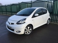 USED 2011 61 TOYOTA AYGO 1.0 VVT-I GO 5d 67 BHP ALLOYS SATNAV PRIVACY A/C  SATELLITE NAVIGATION. WHITE WITH BLACK CLOTH TRIM. 14 INCH ALLOYS. COLOUR CODED TRIMS. PRIVACY GLASS. AIR CON. R/CD PLAYER. MFSW. EW. MOT 09/20. AGE/MILEAGE RELATED SALE. P/X CLEARANCE CENTRE - LS23 7FQ. TEL 01937 849492 OPTION 3