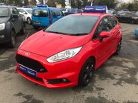 USED 2016 65 FORD FIESTA 1.6 ST-2 3d 180 BHP IN METALLIC RED WITH 28000 MILES, FULL SERVICE HISTORY, 1 OWNER AND A GREAT SPEC. THIS IS A ULEZ COMPLIANT VEHICLE Approved Cars are pleased to offer this immaculate 2015 Ford Fiesta ST-2 1.6 with 180 BHP. This is one of the most popular hot hatches and is an iconic sports car. This ideal family car has been extremely well looked after and maintained and comes with a full service history. It comes well equipped with a 1.6 turbocharged petrol engine, DAB radio, Recaro racing front seats, recaro rear seats, bluetooth and much much more. For more information or to book a test drive please call our sales team