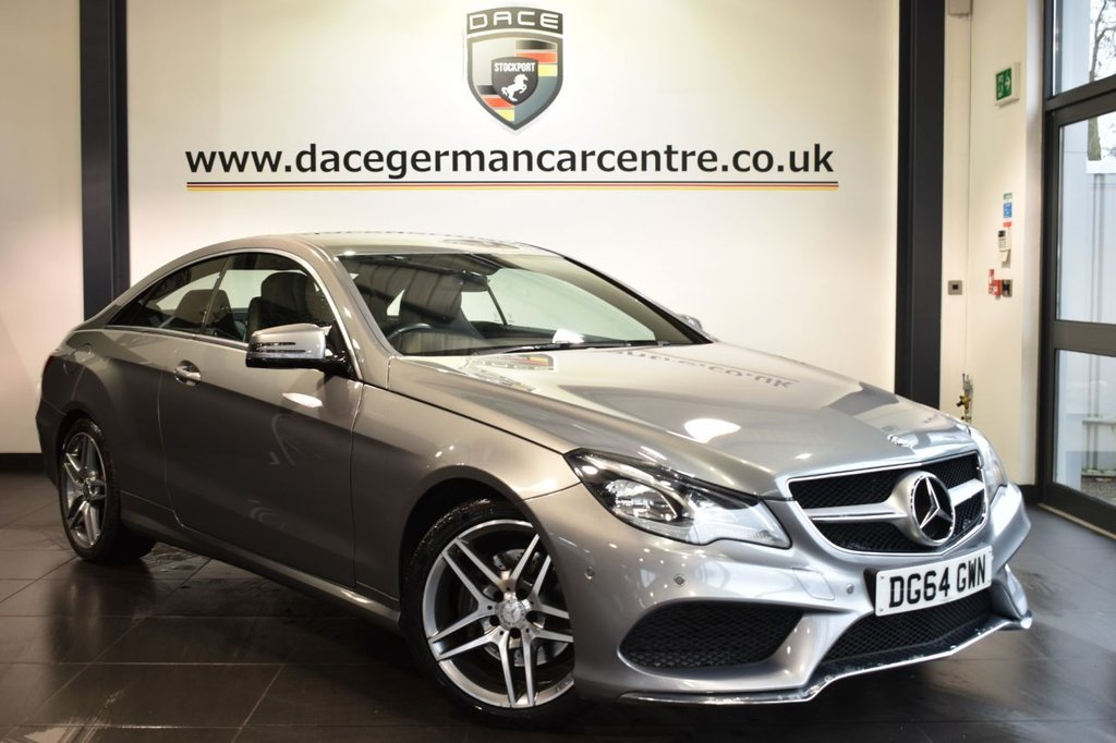 "USED 2014 64 MERCEDES-BENZ E CLASS 2.1 E220 CDI AMG SPORT 2DR AUTO 170 BHP Finished in a stunning palladium metallic silver styled with 18"" alloys. Upon opening the drivers door you are presented with full black leather interior, comand satellite navigation, excellent service history, bluetooth, heated seats, DAB radio, AMG styling package, active park assist"