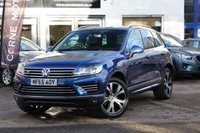 USED 2015 65 VOLKSWAGEN TOUAREG R-LINE 3.0 TDI V6 262PS BLUEMOTION TECHNOLOGY 4WD AUTOMATIC PAN SUNROOF * HEATED SEATS * SAT-NAV * DAB * TOWBAR *