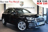 """USED 2017 17 AUDI Q5 2.0 TDI QUATTRO S LINE 5DR AUTO 188 BHP Finished in a stunning black styled with 19"""" alloys. Upon opening the drivers door you are presented with half black leather interior, full service history, satellite navigation, bluetooth, heated seats, cruise control, DAB radio, multi functional steering wheel, heated electric folding mirrors, climate control, parking sensors"""