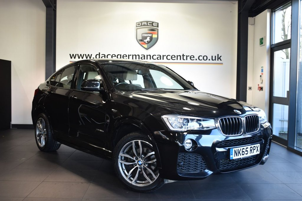"""USED 2015 65 BMW X4 2.0 XDRIVE20D M SPORT 4DR AUTO 188 BHP Finished in a stunning sapphire metallic black styled with 19"""" alloys. Upon opening the drivers door you are presented with full leather interior, full service history, satellite navigation, bluetooth, heated sport seats, xenon lights, cruise control, Automatic air conditioning, Headlight cleaning system, LED Fog lights, DAB radio, Rain sensors,  Automatic transmission w/ shift paddles, Light package, Driving experience switch incl. ECO PRO, parking sensors"""