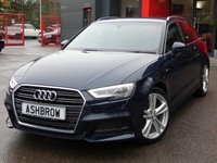 USED 2016 66 AUDI A3 SPORTBACK 2.0 TFSI S LINE 5d 190 S/S 1 OWNER FROM NEW, FULL AUDI HIST, UPGRADE PARKING SYSTEM PLUS + REVERSE CAMERA (FRONT+REAR PARKING SENSORS W/ DISP), UPGRADE ALUMINIUM ROOF RAILS, UPGRADE ELEC POWER FOLDING MIRRORS, UPGRADE FOLDING TOWBAR, BLACK 1/2 LEATHER, NAV, DAB, CRUISE, LED LIGHTS W/ DRL + REAR DIRECTIONAL SWEEPING INDICATOR, AUDI SMARTPHONE INTERFACE FOR APPLE CARPLAY / ANDROID AUTO, AUDI DRIVE SELECT, LEATHER FLAT BOTTOM MULTI FUNCT STEERING WHEEL, SIM CARD SLOT + SD SLOT X2, USB X2 + AUX IN, LED INTERIOR LIGHTS, VAT Q