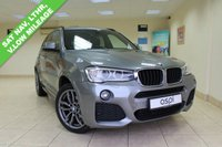USED 2016 65 BMW X3 2.0 XDRIVE20D M SPORT 5d 188 BHP BLACK NEVADA LEATHER, SATELLITE NAVIGATION, BLUETOOTH WITH HANDS FREE USB, DAB RADIO, HARMON KARDON LOUD SPEAKER SYSTEM, AUTOMATIC TAILGATE, HEATED FRONT SEATS, XENONS, CRUISE CONTROL, PDC, RAIN SENSOR, ELECTRIC FOLDING MIRRORS, LOW MILEAGE, REVERSING ASSIST CAMERA, 19 INCH M DOUBLE SPOKE STYLE ALLOYS, HIGH GLOSS ROOF RAILS, HUGE SPEC AND LOW MILEAGE
