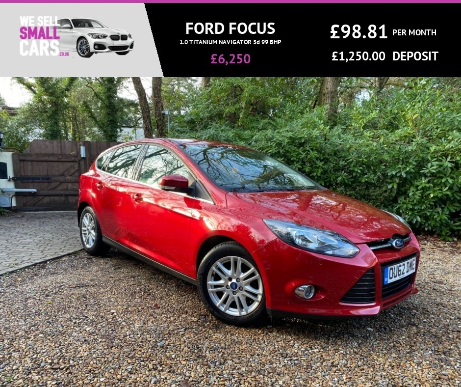 USED 2012 62 FORD FOCUS 1.0 TITANIUM NAVIGATOR 5d 99 BHP FACTORY SAT NAV BLUETOOTH FSH REVERSE CAMERA GREAT SPEC LOW MILES