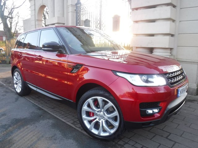 USED 2014 14 LAND ROVER RANGE ROVER SPORT 3.0 SDV6 AUTOBIOGRAPHY DYNAMIC 5d 288 BHP £5450 WORTH OF ADDED EXTRAS*4WD*RED LEATHER*NAV*PAN ROOF*6 LR SERVICES*ELEC BOOT+TOWBAR*DAB