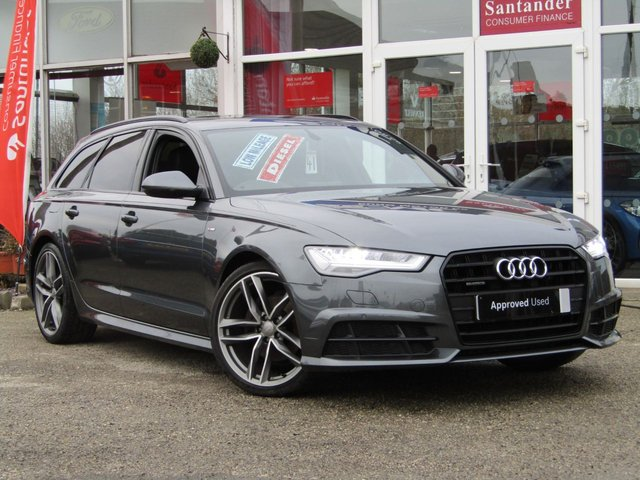 USED 2016 66 AUDI A6 2.0 AVANT TDI QUATTRO BLACK EDITION 5d 188 BHP STUNNING, 1 OWNER, AUTO, AUDI A6, 2.0 TDI QUATTRO, S/LINE, BLACK EDITION, 188 BHP. Finished in DAYTONA GREY PEARL METALLIC with contrasting Sports BLACK LEATHER trim. This popular New Shape Audi Estate has genuine good looks and a luxurious feel. Great to drive and practical with loads of room for the average sized family. Features include, Sat Nav, Blue Tooth, Bose, Cruise Control, Parking Sensors, DAB, Electric Boot,Heated Electric Leather Memory Seats and much more.