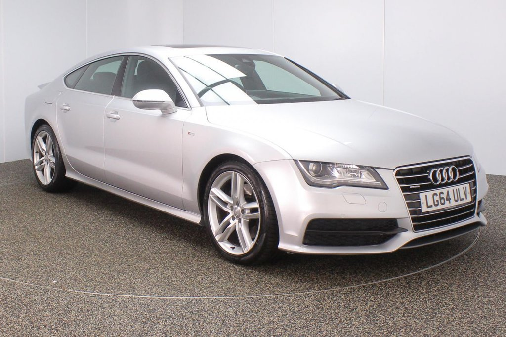 USED 2014 64 AUDI A7 3.0 TDI QUATTRO S LINE 5DR AUTO 245 BHP SAT NAV LEATHER FSH AUDI SERVICE HISTORY + HEATED LEATHER SEATS + SATELLITE NAVIGATION + ELECTRIC SUNROOF + PARKING SENSOR + BLUETOOTH + CRUISE CONTROL + CLIMATE CONTROL + MULTI FUNCTION WHEEL + XENON HEADLIGHTS + DAB RADIO + ELECTRIC/MEMORY FRONT SEATS + ELECTRIC WINDOWS + ELECTRIC/HEATED/FOLDING DOOR MIRRORS + 19 INCH ALLOY WHEELS